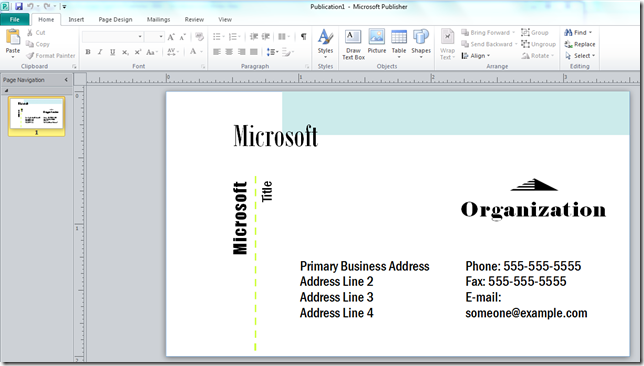 How to make a business card with microsoft publisher online card with ms publisher 4 reheart Image collections